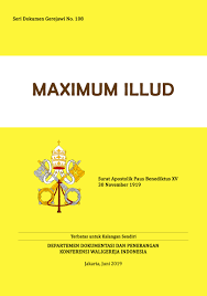 Dokumen Maximum Illud dalam bahasa Indonesia diterbitkan oleh Departemen Dokpen KWI, Juni 2019