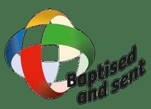 """Logo Perayaan Seabad Maximum Illud dengan tema universal """"Dibaptis dan Diutus"""""""